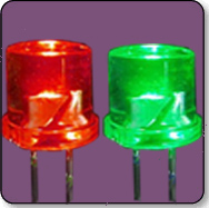 3mm Flat Top Bicolor (2) Leaded LED - Green & Red