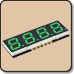 SMD 7 Segment Green LED Display -  Four Digit 0.2 Inch (5.08mm) Anode