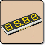 SMD 7 Segment Yellow LED Display -  Four Digit 0.2 Inch (5.08mm) Anode