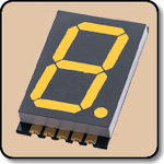 SMD 7 Segment Yellow LED Display -  Single 0.8 Inch (20.30mm) Cathode