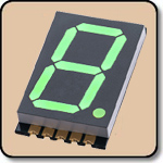 SMD 7 Segment Green LED Display -  Single 0.8 Inch (20.30mm) Cathode