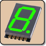 SMD 7 Segment Pure Green LED Display -  Single 0.8 Inch (20.30mm) Anode 525nm