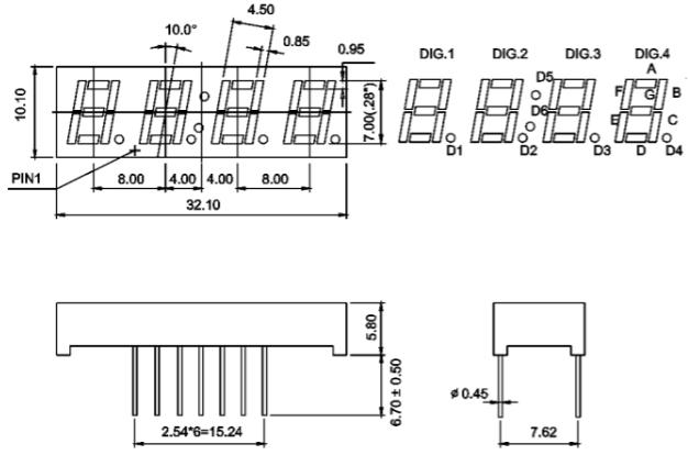 7 segment four digit green 0 28 inch  7 0mm  led display