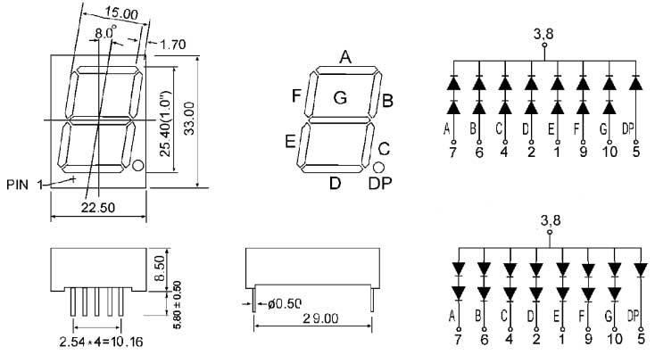 1pcs 1.8 inch 1 digit Red Led display 7 segment Common cathode  I2/_fd