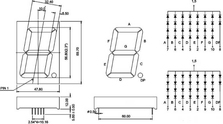 7 segment white 2 3 inch  57mm  single digit led specs